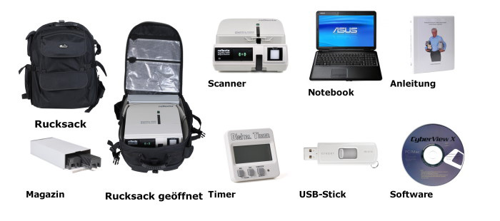 Transportkoffer, Scanner, Notebook, Anleitung, Magazin, Diabetrachter, Timer, USB-Stick, Software